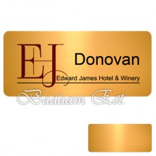 Rectangle Gloss Gold Metal Name Badges 7X3.2 cm