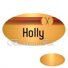 Oval Gloss Gold Metal Name Badges 7X3.2 cm
