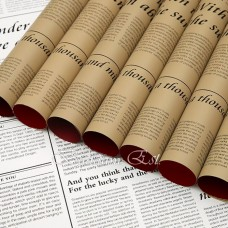 Newspaper double sided wrapping paper Kraft/Red