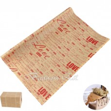 Kraft wrapping paper with red love words
