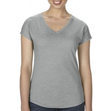 Women's Tri-Blend V-Neck Tee Grey