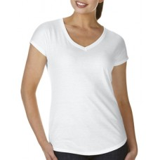 Women's Tri-Blend V-Neck Tee White