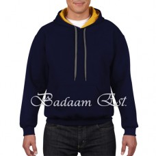 Adult Contrast Hooded Sweatshirt Navy/Gold