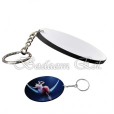 Oval polymer key chain with black edge
