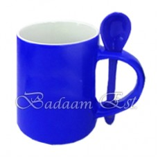 Blue change color mug with spoon