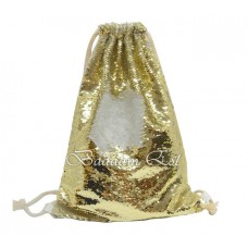 Sequin Drawstring Bag Gold