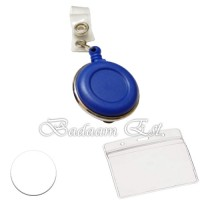 ID badge reel blue silver ring